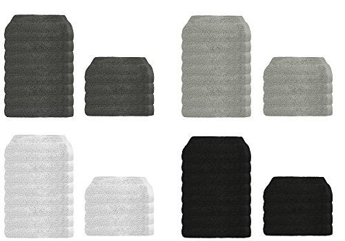 Frottier Handtuch 4er oder 8er Sparpack in 4 modernen Farben, Frottee 4X Handtücher 50x100 cm Anthrazit