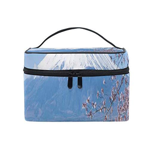 Bolsa de maquillaje Estilo japonés Montaña Flor de cerezo Bolsa de cosméticos Bolsa de aseo portátil grande para mujeres/niñas Viajes
