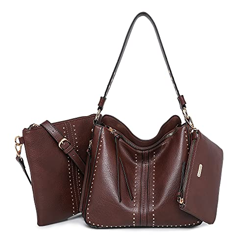 Montana West Conceal Carry Purses For Women Pistol Crossbody Handbag Studed Leather Tote Gun Pocket Coffee MWC-1001S-3-CF