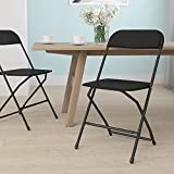 Flash Furniture Hercules Series Plastic Folding Chair - Black - 650LB Weight Capacity Comfortable Event Chair - Lightweight Folding Chair