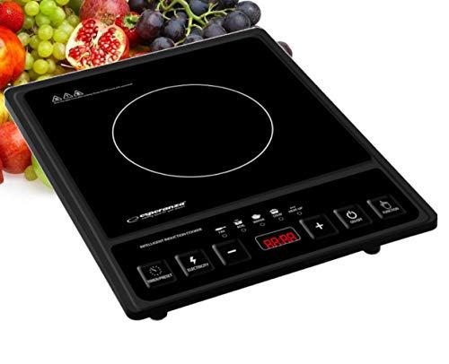 Placa de inducción portátil eléctrica, cocina de inducción única, 2000 W, regulación de temperatura en el rango de 80 °C a 270 °C, dependiendo de la función elegida hasta 8 niveles de calor