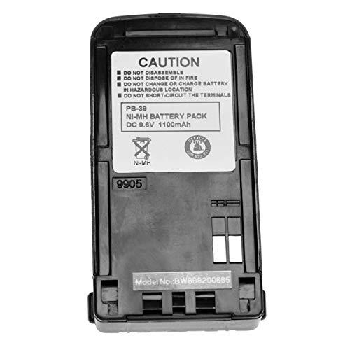 vhbw NiMH batteria 1100mAh (9.6V) con clip da cintura compatibile con Kenwood TR-2500 radio, walkie-talkie