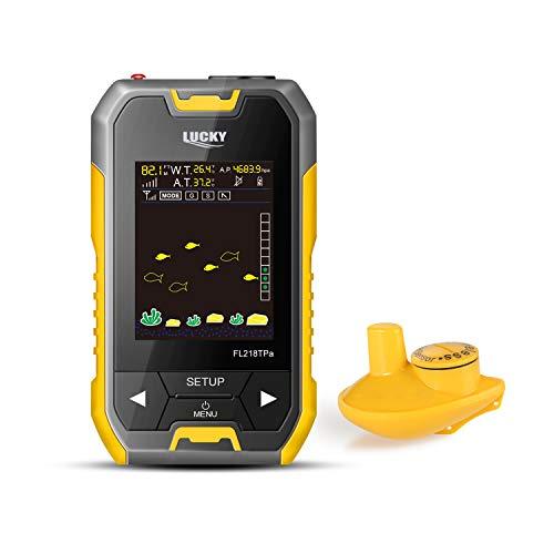Lucky Draagbare viszoeker, transducer, sonarsensor, 130 voet, waterdiepte, detector, LCD-scherm met barometer, voor de oevervissen, zeevissen