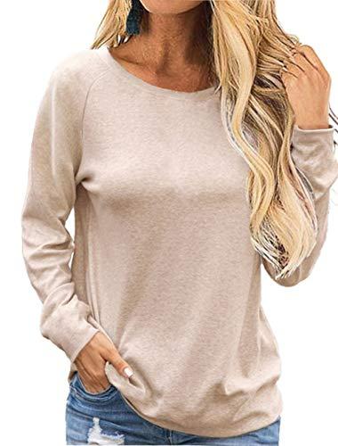Damen T-Shirt Damen Langarmshirt Damen Oberteile Bluse Langrm Top Damen Basic Shirt Baumwoll Freizeit