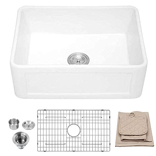 White Farmhouse Sink - Lordear 24 inch Kitchen Sink White Apron-Front Fireclay Porcelain Ceramic Single Bowl Small Reversible Farm Sink Laundry Room Sink