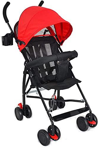 Cochecito ligero con estilo, cochecito de bebé, cochecito plegable bebé niño niño niño paraguas ultra portátil portátil plegable simple simple sillón de viaje Sistema de viaje (Color : Red)