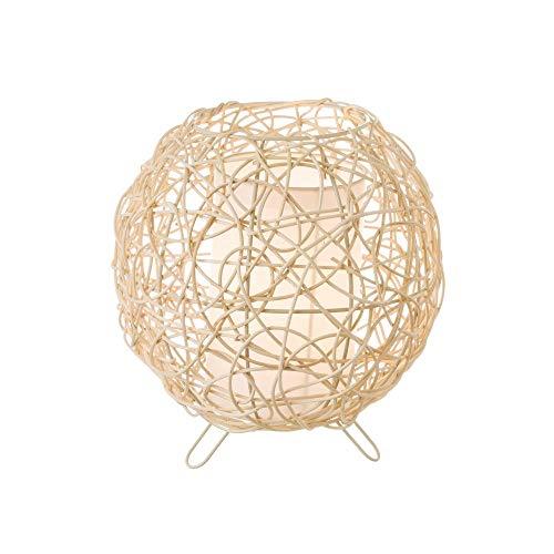 Lámpara de mesa de rattan natural beige étnico para dormitorio France - LOLAhome
