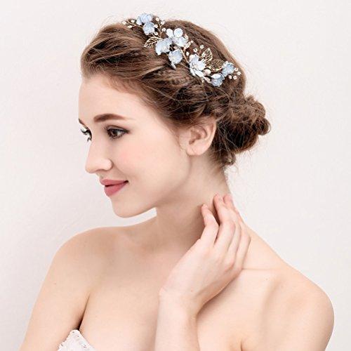 Lurrose Braut Haar kämmt blaue Blume Crystal Drill Kopfschmuck Haarschmuck für Hochzeit (s874)