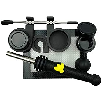 """Silicone Honey Straw Silicone Straw 6.5"""" with Wax Carving Kit (BLACK)"""