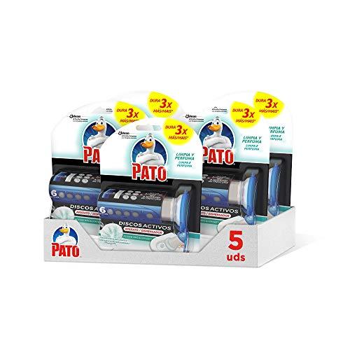PATO Discos Activos WC, Limpia y Desinfecta, Packs de 5 Unidades, 1 Aplicador + 1 Recambio