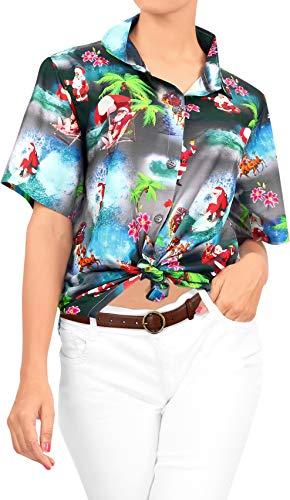 HAPPY BAY Women's Christmas Santa Claus Summer Hawaiian Shirt Beachwear Aloha Shirt XXL Black_AA97