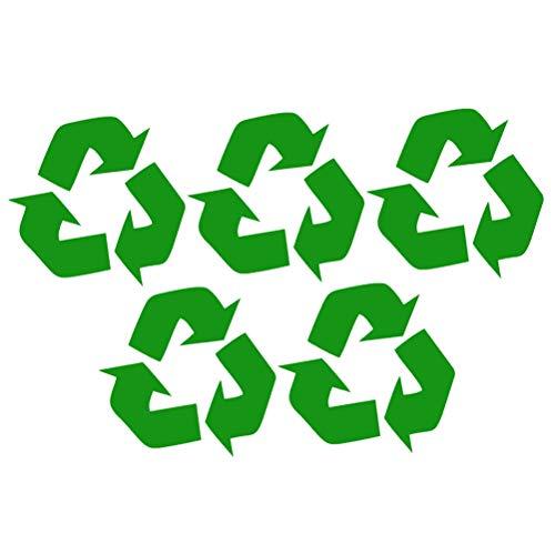 CABILOCK 5 pegatinas de reciclaje para papeleras, etiquetas de papelera, autoadhesivas, reciclables, para interiores y exteriores, para el hogar, la cocina, la oficina (verde)