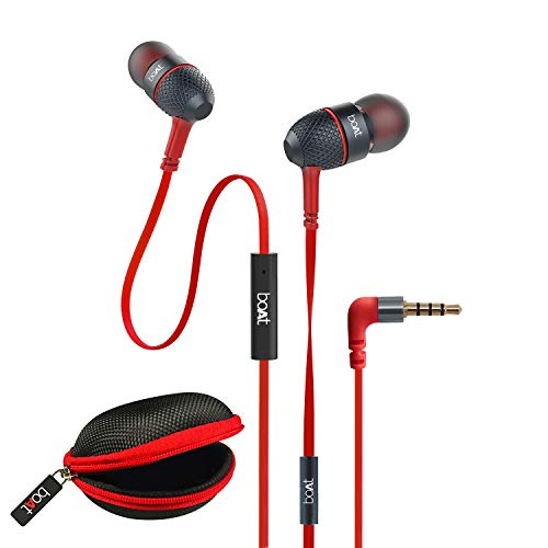 boAt BassHeads 225 Wired in Ear Earphone with Mic (Red)