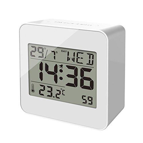 balvi Wecker Block Farbe Weiß Digitaler Wecker mit Temperatur-, Wochentag- und Stundenanzeige Originelles Geschenk ABS-Kunststoff 7,2 x 7,2 x 3,5 cm