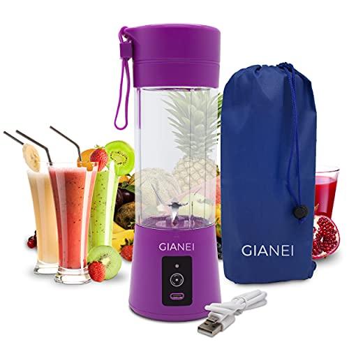 Gianei tragbarer Mixer Smoothie Maker - kleiner Entsafter für Gemüse und Obst, Smoothie Mixer to go mit Tragetasche, USB wiederaufladbarer Akku Mixer, 380 ml Becher, 6 Edelstahlmessern (Violett)