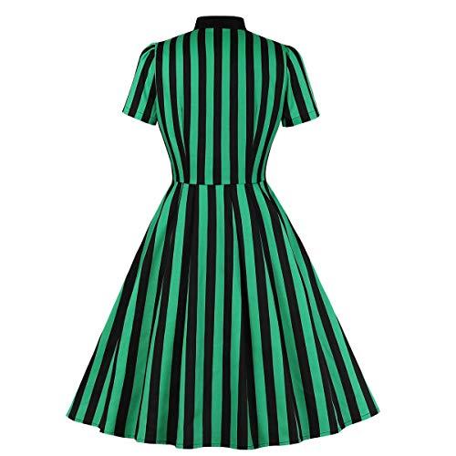 Wellwits Women's Tie Neck Halloween Gothic Black and Green Stripe Vintage Dress XS