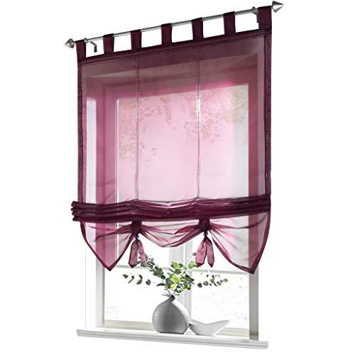 ESLIR Raffrollo mit Schlaufen Gardinen Küche Raffgardinen Transparent Schlaufenrollo Vorhänge Modern Voile Beere BxH 140x155cm 1 Stück
