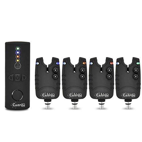 CarpOn® Tackle Wireless Karpfen Angeln Funk Bissanzeiger Angeln Set mit LED Leuchtzeiger ideal für Karpfenangeln (4 Angeln Bissalarm+1 Empfänger)