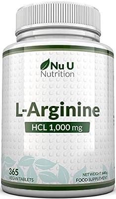L-Arginine 4000   365 Vegetarian and Vegan Tablets   Up to One Year Supply of L Arginine HCL   1000mg Per Tablet
