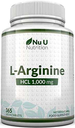 L-Arginine 4000 | 365 Vegetarian and Vegan Tablets | Up to One Year Supply of L Arginine HCL | 1000mg Per Tablet