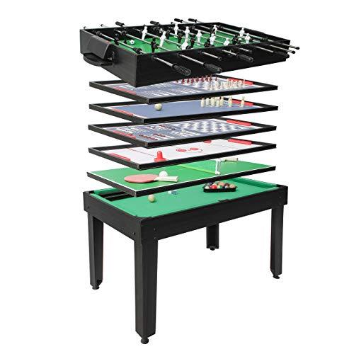 Mendler Calcetto biliardino Ping Pong Tavolo da Gioco 7in1 HWC-J15 82x107x60cm - Nero