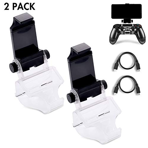 2 Pack PS4 Controller Phone Clip, PS4 Slim Pro DualShock 4 Controller Grip for Android Smart Phone, 180 Degree Gaming Holder Mount Stand Bracket for Playstation 4 Game Controller 6 in Samsung