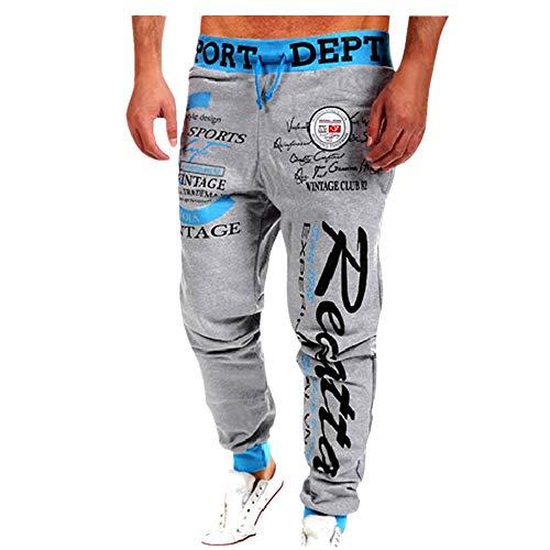 SUNFANY Jogginghose Herren Hip Hop Style Druck Mode Streetwear Männer Stretch Gummizug mit Drawstring Hose Lange Trainingshose(Himmelblau,XL)