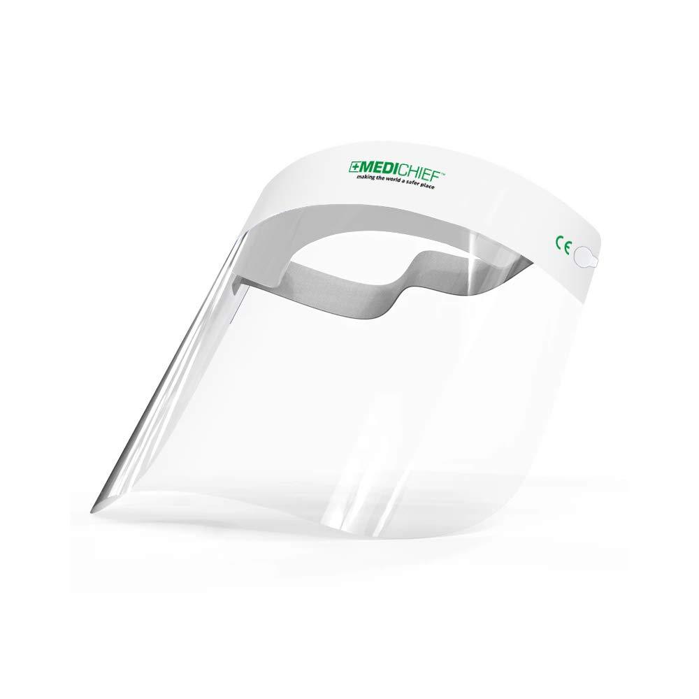 Protector Facial/Visor Facial Premium Medichief (Paquete de 10 Unidades) Visor Facial Completo, Protector Facial Transparente con Protección Antiempaño, Protector Facial de Seguridad Aprobado (MFS1)