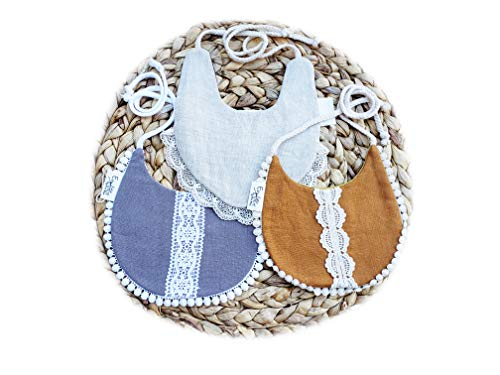 Reversible Linen and Lace Baby Bibs with Cotton Floral Print. Vintage Country Rustic Linen Drool Burp Bibs … (3pk Girls Brown Mustard + Plum Camel + Gray Floral)