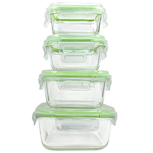 Home Fleek - Envases de Vidrio para Alimentos | 4 Recipientes + 4 Tapas | Herméticos |...