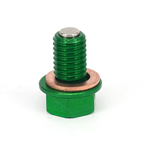 JFG RACING Green CNC Billet Aluminum M12mmP1.5mm Magnetic Oil Drain Plug Bolt For Kawasaki KX65 KX85 KX100 KX125 KX250 KX500 KX250F KX450F 250SB KLX250 D-TRACKER 98-16
