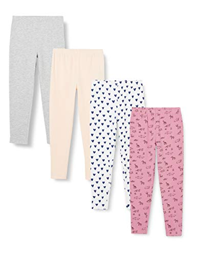 Amazon-Marke: RED WAGON Mädchen Leggings mit Print, 4er-Pack, Mehrfarbig (Herz/Tier), 110, Label:5 Years