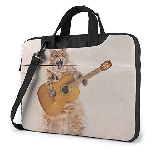 Laptop-Tasche Lustige Rock Cat Play Gitarre Laptop Schulter Umhängetasche, Notebook-Hülle Tragetasche mit Trolley-Gürtel Passend für Laptops/Notebook/E-Books/Kinder-Tablet/iPad 15.6 inch