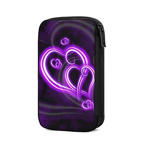 Electronics Organizers, Purple Love Print Electronic Accessories Case Portable Cable Storage Bag For Cord,Powerbank,Charger,Earphone,U Disk,Sd Card
