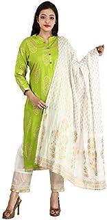 FEMEZONE Women's Cotton Readymade Salwar Suit (FEM20190401-07PGREENM_Green_38)