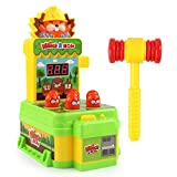 FEBUD Whack A Mole Game Mini Electronic Arcade Game Pounding Bench Coin Game with 1 Hammers Toy Interactive Educational Developmental Game for Kids Age Over 3+