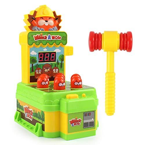 red dieny Whack A Mole Game, Mini Juego De Arcade Electrónico con Martillo, Juguete Interactivo con Sonidos De Luces, Juego Educativo De Desarrollo para Niños Pequeños Gils Boys
