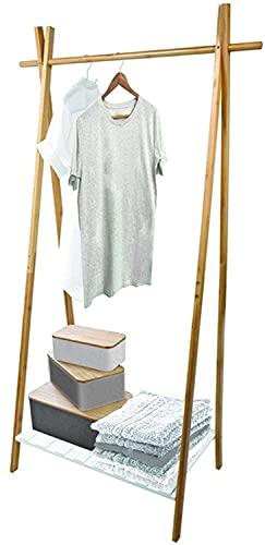 TIENDA EURASIA® Perchero de Pie Madera Blanco - Estructura de Bambu Resistente y Baldas de Madera - Estilo Nordico (Perchero 1 Balda - 64 x 44 x 160,5 cm)