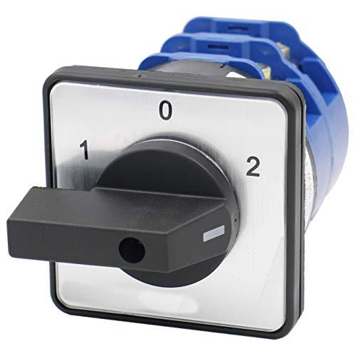 Heschen - Interruptor de leva de cambio rotativo (125 A, 660 VCA, 2 fases, encendido/apagado, 3 posiciones, 8 terminales)