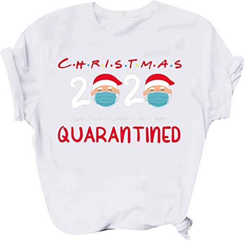 Blue Star Camiseta de Navidad con cuello redondo y divertido estampado de letras de manga corta, informal, para día festivo