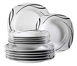 Mäser 920673 Serie Oslo, 12-teiliges Teller-Set für 6 Personen aus Porzellan, Tafelservice klassisch, zeitlos, elegant, schwarz-weiß