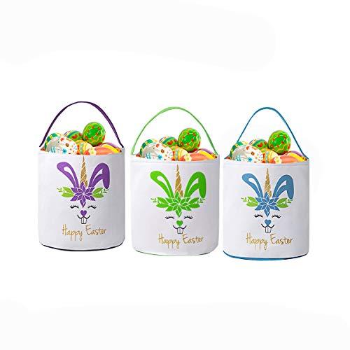 GSUIVER Easter Basket for Kids Easter Bunny Bag Easter Decorations… (3 Packs # Blue, Green &Purple)