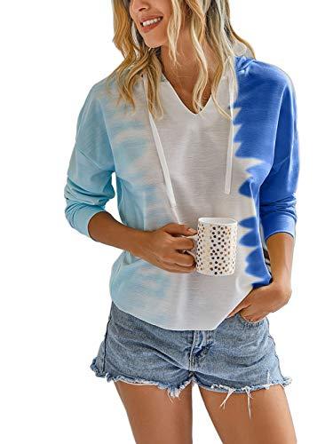 Famulily V-Ausschnitt T-Shirts Damen Langarm Tie Dye Kapuzenpullover Street Hoodie XXL A: Blau