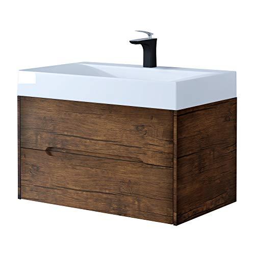 Sogood Mineralguss-Waschbecken 80 cm in Walnuss 2-teilig inkl. Waschbeckenunterschrank mit Zwei Schubladen Serie Yoga montagefertig