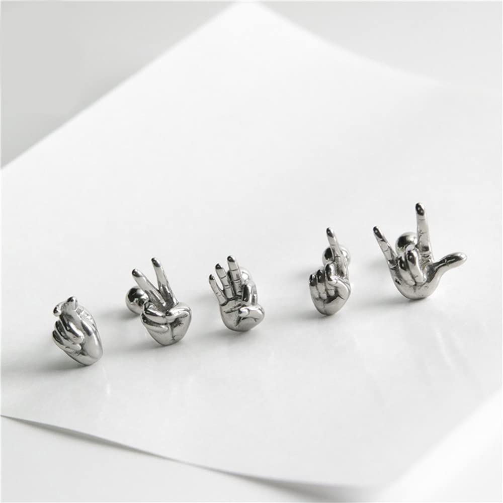 16G Rock On Hand Cartilage Stud Earrings for Women Men Boys Girls Fashion Punk Personalized Stainless Steel Flat Screw Back Helix Hypoallergenic Ear Piercing Jewelry Gifts Daughter Birthday Bff Xmas