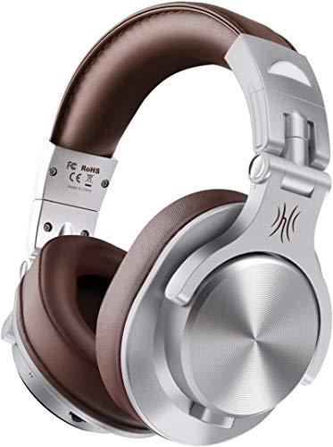 OneOdio FUSION A7 Auricurales Circumaurales Inalámbricos de Cable 3.5mm, Diadema Cerrado 90°Ajustable Auricurales Plegables Bluetooth con Micrófono de 40mm y Sonido Profesional de DJ (Marrón)