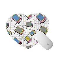 LUBATAGA ハート型 マウスパッド,面白いレトロ80年代メンフィスネオンカラーテレビ背景漫画スタイルヴィンテージ,個性的 おしゃれ 柔軟 かわいい ゲーミングマウスパッド PC ノートパソコン オフィス用 円形 デスクマット 滑り止め 小型 マウスマット