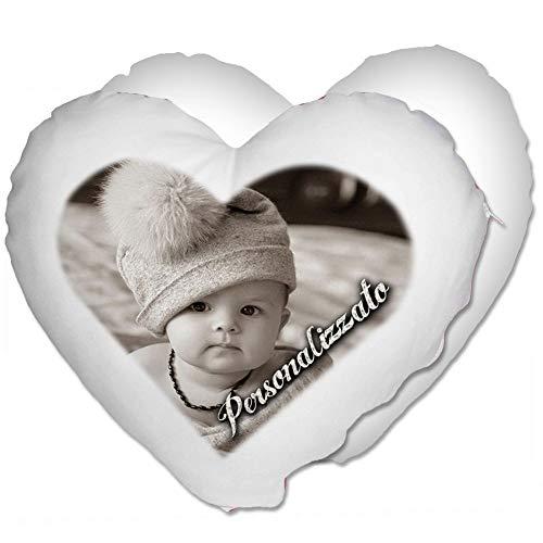 Cuscino Cuore Personalizzato con Foto - Bianco, Cuore 40x40 cm - con Imbottitura