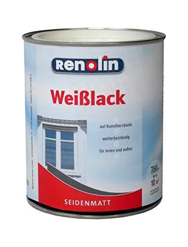 Renolin 750 ml Weißlack 2in1 Seidenmatt, wasserverdünnbar, wetterbeständig, innen & außen