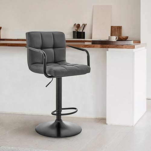Laurant Adjustable Gray Faux Leather Swivel Bar Stool product image